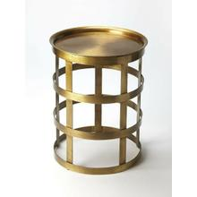 View Product - Add eye-catching appeal to your home library or living room with this industrial-inspired modern end table, showcasing an openwork gold tone metal base with welted details.