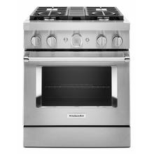 See Details - KitchenAid® 30'' Smart Commercial-Style Dual Fuel Range with 4 Burners - Stainless Steel