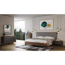 View Product - Nova Domus Metcalf - Mid-Century Walnut & Grey Bed w/ Two Nightstands
