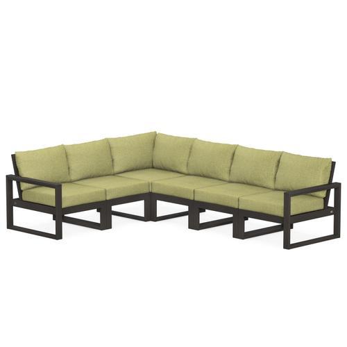Polywood Furnishings - EDGE 6-Piece Modular Deep Seating Set in Vintage Coffee / Chartreuse Boucle