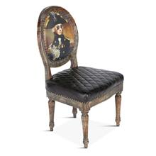 Washington Dining Chair Vintage Print with Burlap Back