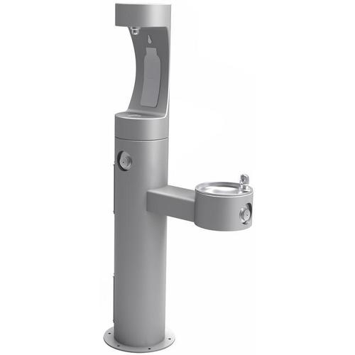 Elkay - Elkay Outdoor ezH2O Bottle Filling Station Bi-Level Pedestal, Non-Filtered Non-Refrigerated Freeze Resistant Gray
