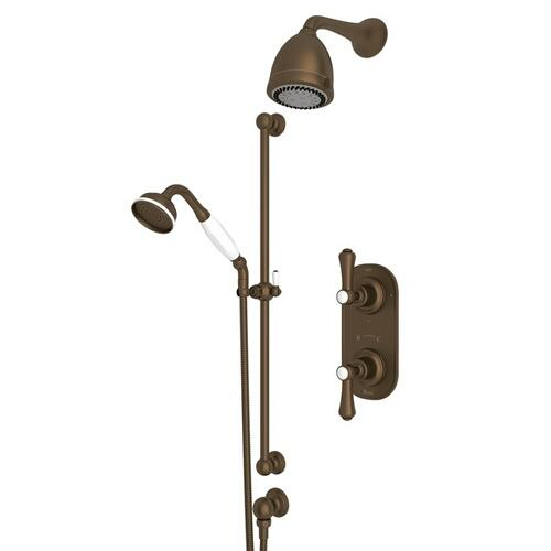 English Bronze GEORGIAN ERA THERMOSTATIC SHOWER PACKAGE with Georgian Era Metal Lever With Porcelain Cap