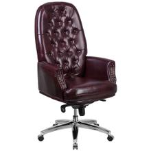 High Back Traditional Tufted Burgundy Leather Multifunction Executive Swivel Chair with Arms