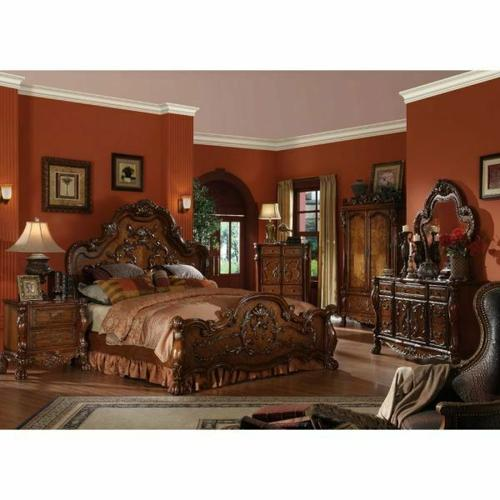 ACME Dresden Eastern King Bed - 12137EK - Cherry Oak