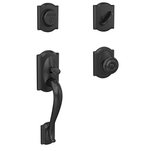 Custom Camelot Inactive Handleset with Georgian Knob and Camelot Trim - Matte Black
