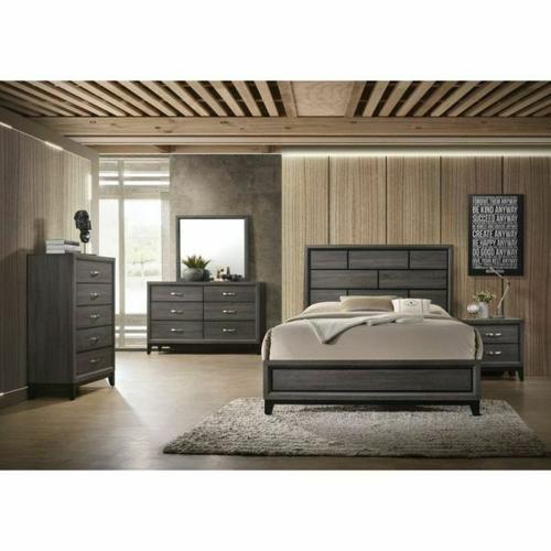 ACME Valdemar Eastern King Bed - 27047EK - Weathered Gray