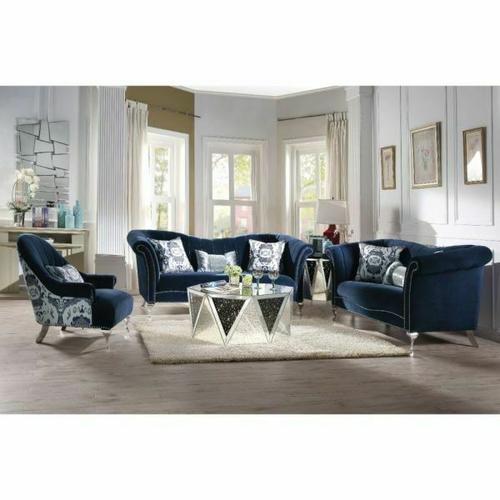 ACME Jaborosa Sofa w/3 Pillows - 50345 - Blue Velvet