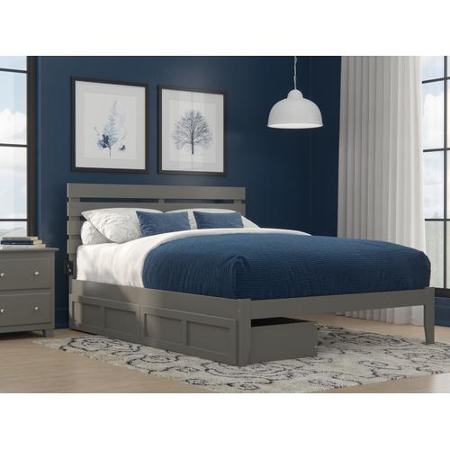 Atlantic Furniture - Oxford Queen Bed with USB Turbo Charger and 2 Extra Long Drawers in Grey