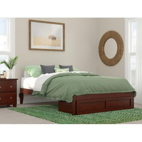 Atlantic Furniture - Colorado Queen Bed with Foot Drawer and USB Turbo Charger in Walnut