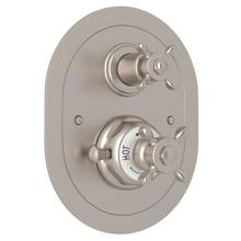 Edwardian Era Oval Thermostatic Trim Plate with Volume Control - Satin Nickel with Cross Handle