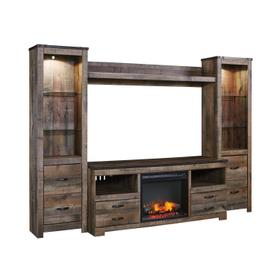See Details - Trinell 5 Piece Entertainment Set W/Fireplace Insert Brown