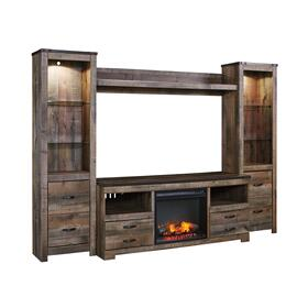 Trinell 5 Piece Entertainment Set W/Fireplace Insert Brown