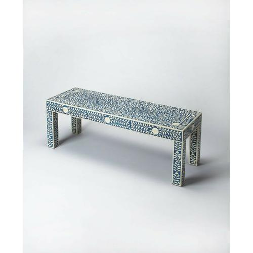 Butler Specialty Company - This classically designed bench will be a delight in any entryway or bedroom. With a botanic motif bone inlay over a blue background this bench will be a treasured piece for any user.