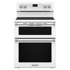 KitchenAid30-Inch 5 Burner Electric Double Oven Convection Range - White
