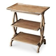 Two shelves and a large tabletop with distinctive raised edges give this meticulously designed Side Table abundant functionality as well as exceptional good looks. Crafted from solid woods and cherry veneers, the table features a physically distressed fin