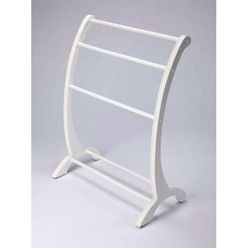 This charming transitional blanket stand is a practical addition in any living room, bedroom, or bathroom. Made from rubberwood and poplar hardwood solids, it boasts arched side supports with hand-carved appointments in a pristine Glossy White finish. The horizontal rails are ideal for hanging blankets, quilts, bedspreads or towels in the bathroom.