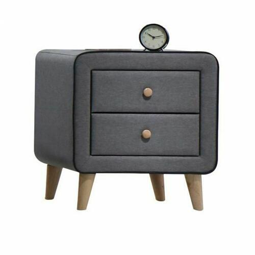 ACME Valda Nightstand - 24523 - Light Gray Fabric