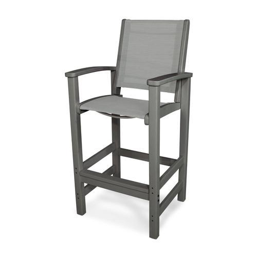 Slate Grey & Metallic Coastal Bar Chair