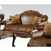 ACME Dresden Loveseat w/2 Pillows - 15161 - Brown PU & Chenille - Cherry Oak Product Image