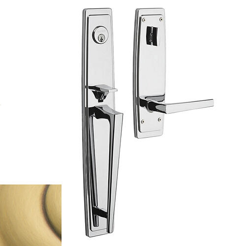 Satin Brass and Brown Palm Springs Full Escutcheon Handleset