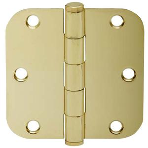 "Door Hardware  3.5"" Round Hinge 5/8"" Radius - Bright Brass Product Image"