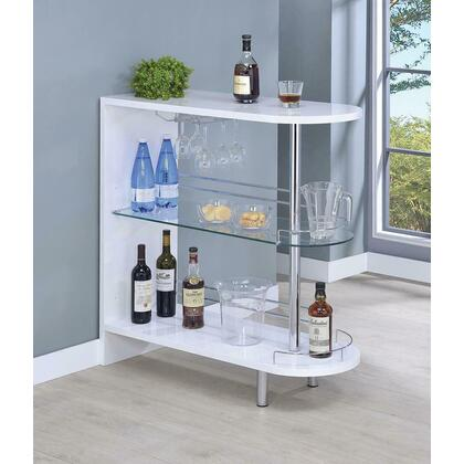 See Details - Contemporary Glossy White Bar Table