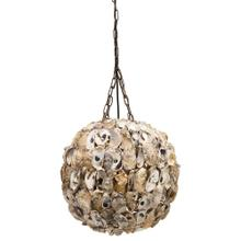 """Product Image - 17"""" Round Oyster Shell Pendant Lamp, 6' Chain & 8' Cord (60 Watt Bulb Maximum, Hardwire Only)"""