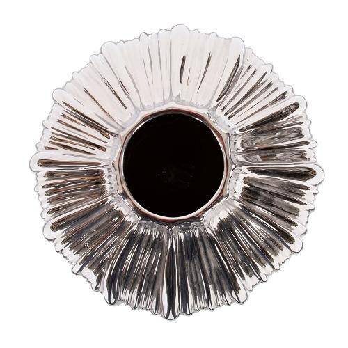 Howard Elliott - Metallic Silver Ribbed Ceramic Globe Vase