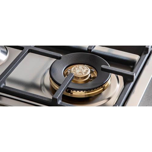 Bertazzoni - 36 Drop-in Gas Cooktop 5 brass burners Stainless Steel