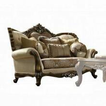 ACME Latisha Loveseat w/5 Pillows - 52116 - Tan - Pattern Fabric & Antique Oak