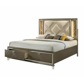 ACME Skylar Eastern King Bed (Storage & LED) - 25317EK - Glam, Contemporary - PU, LED, Wood (Rbw), Paper Veneer (PU), MDF, PB, Acrylic Leg - LED, PU and Dark Champagne