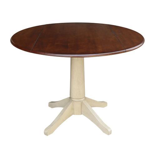 John Thomas Furniture - Round Dropleaf Pedestal Table in Espresso / Almond