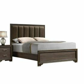 ACME Cyrille Queen Bed (Padded HB) - 25850Q - Fabric & Walnut