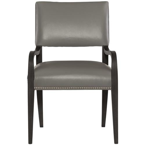 Moore Leather Arm Chair in Midnight Black Finishes Available Glacier White (WW1) Midnight Black (BW1) Weathered Greige (GW1) Nailhead Finish Shown #13 Bright Nickel