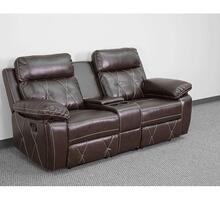 2-Seat Reclining Brown Leather Theater Seating Unit with Straight Cup Holders