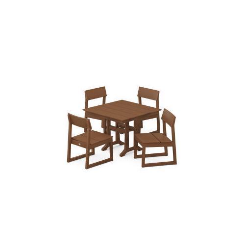 Polywood Furnishings - EDGE 5-Piece Farmhouse Trestle Side Chair Dining Set in Teak