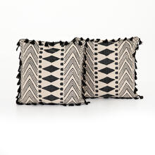 """20x20"""" Size Faded Block Print Pillow, Set of 2"""