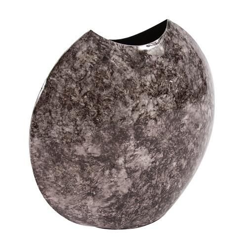 Howard Elliott - Round Black Marbled Iron Disc Vase, Small