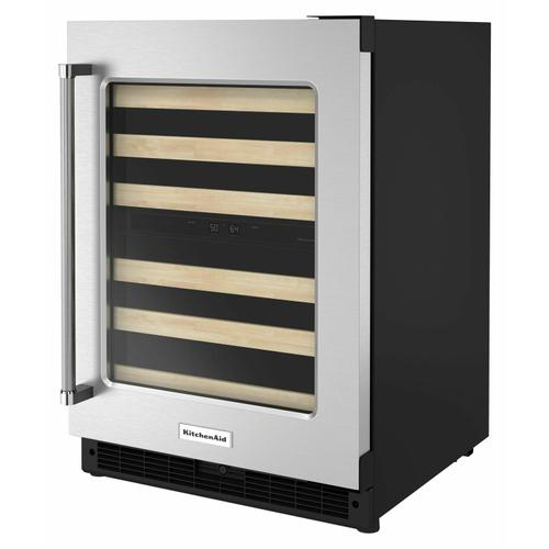 """KitchenAid - 24"""" Undercounter Wine Cellar with Glass Door and Wood-Front Racks - Stainless Steel"""