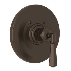 Palladian Thermostatic Trim Plate without Volume Control - Tuscan Brass with Metal Lever Handle