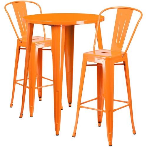 30'' Round Orange Metal Indoor-Outdoor Bar Table Set with 2 Cafe Stools