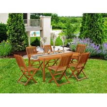 This 7 Piece Acacia Solid wood Outside patio Dining Sets offers one Outdoor-Furniture table and Six patio dining chairs
