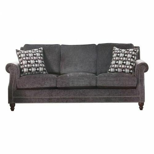 ACME Ilex Sofa w/2 Pillows - 50290 - Gray Chenille