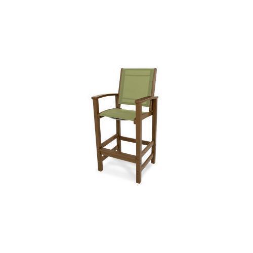 Polywood Furnishings - Coastal Bar Chair in Teak / Kiwi Sling