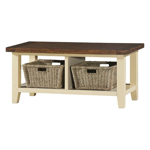 Product Image - Tuscan Retreat® Blanket Bench - Country White With Antique Pine Top