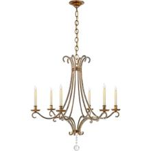View Product - E. F. Chapman Oslo 6 Light 33 inch Gilded Iron Chandelier Ceiling Light