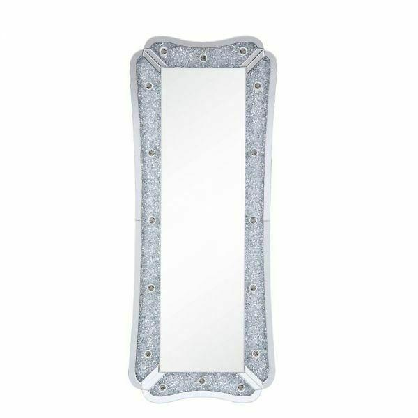 ACME Noralie Wall Decor - 97755 - Glam - LED Light, Mirror, Glass, MDF, Faux Diamonds (Acrylic) - Mirrored and Faux Diamonds