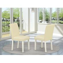 Abbott Parson Chair With Linen White Leg And Pu Leather Color White