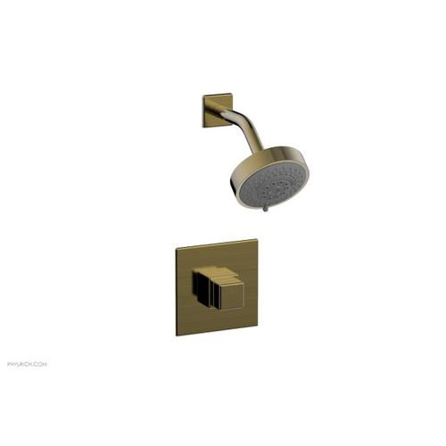 MIX Pressure Balance Shower Set - Cube Handle 290-24 - Antique Brass